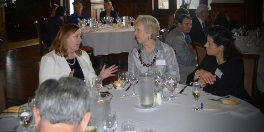 Hon. Jenny Aitchison, moderator Glenda Briggs & WNH Race Barstow in discussions over lunch